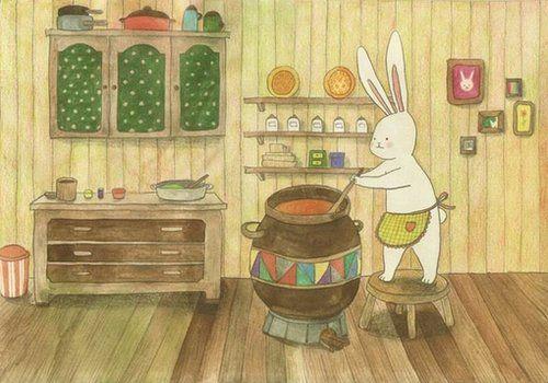 Lapinou cocinando chocolate